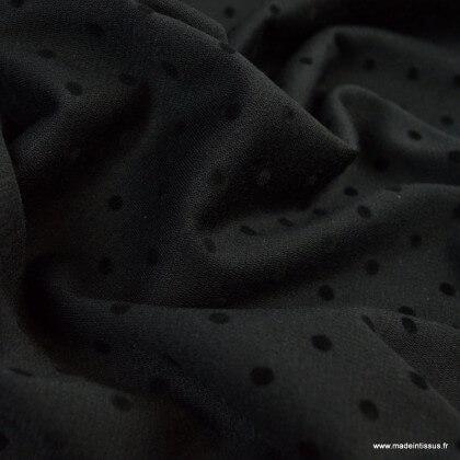 Tissu Jersey milano noir à pois floqués
