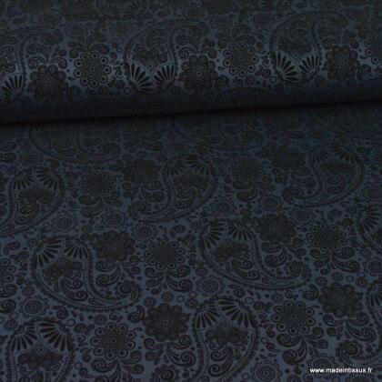 Tissu Jersey milano marine à motif cachemire
