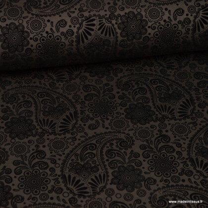 Tissu Jersey milano chocolat à motif cachemire