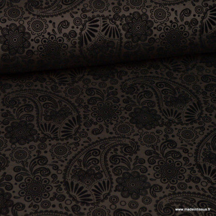 Tissu Jersey milano noir à motif cachemire