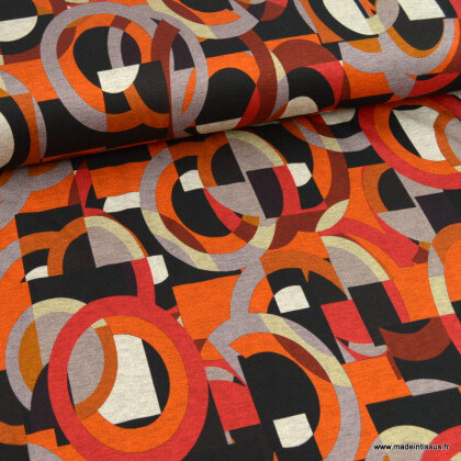 Tissu Jersey de Viscose mi-lourd motif graphique vintage brique