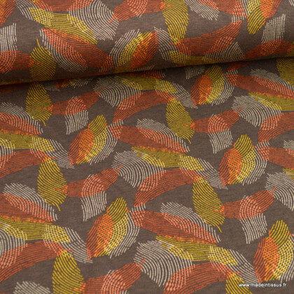 Tissu Jersey de Viscose mi-lourd motif abstrait fond marron