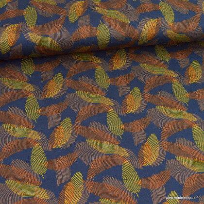 Tissu Jersey de Viscose mi-lourd motif abstrait fond marine