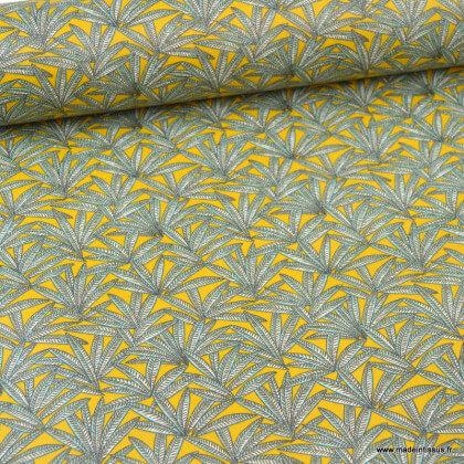 Tissu coton motif Janaina fond safran - Oeko tex