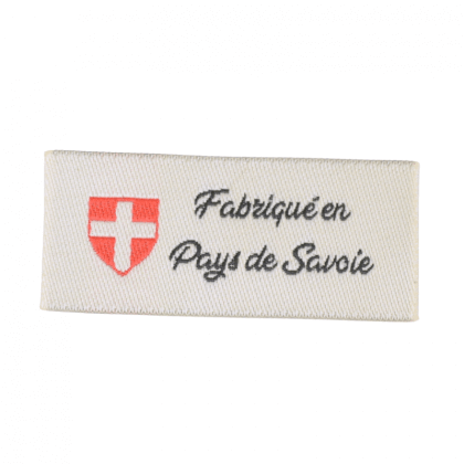 """Etiquette tissée à coudre message """"Fabriqué en Pays de Savoie"""" 20x45mm"""