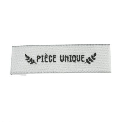 """Etiquette tissée pré-pliée à coudre message """"PIECE UNIQUE"""" 14x48mm"""