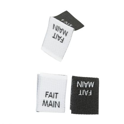 """Etiquette tissée pliée à coudre message """"FAIT MAIN"""" 15x40mm"""