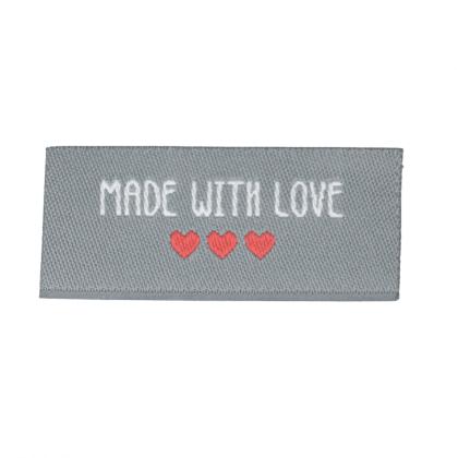 """Etiquette tissée à coudre message """"Made with Love"""" 20x45mm"""