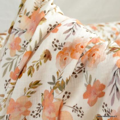 Double gaze de coton Bio Gots & oeko tex motifs fleurs à l'aquarelle fond blanc