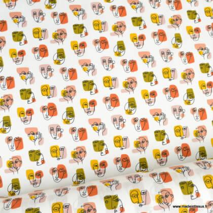 Tissu coton Pablo motifs visages fond blanc - Oeko tex