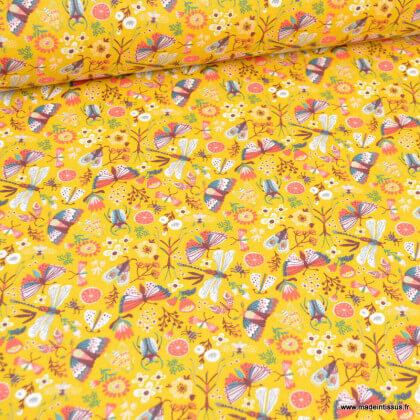 Tissu coton Neverland motifs fleurs et animaux fond moutarde - Oeko tex