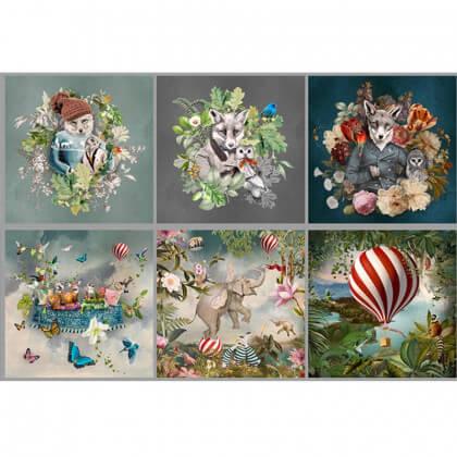 Tissu velours rasé Wonderland en panneau de 6 motifs animaux
