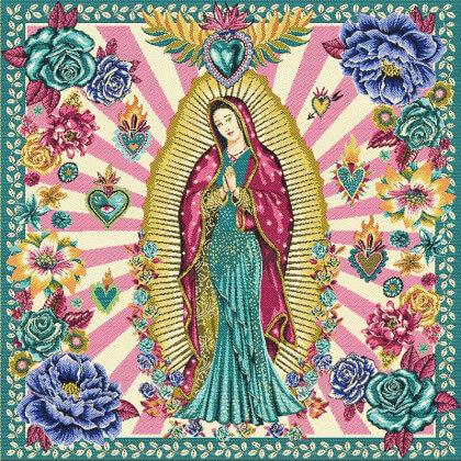 Carré / panneau en jacquard Guadalupe Vierge Marie fond Rose