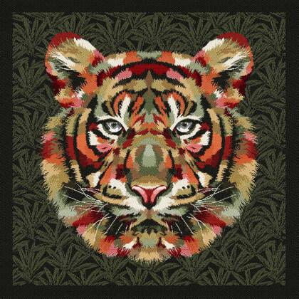 Carré / panneau en jacquard Sherekan motif Tigre fond kaki