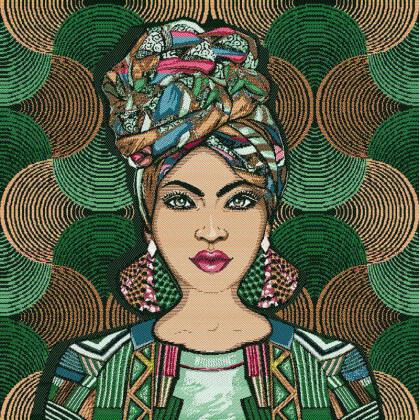 Carré / panneau en jacquard Sakina cactus - Frida Kahlo
