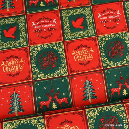Tissu coton motifs Merry Christmas et sapins de Noël rouge et vert