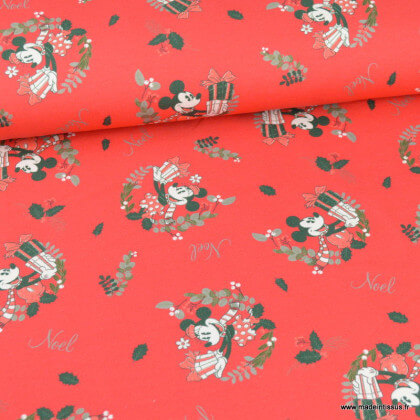 Tissu jersey French terry Mickey Mouse noël fond rouge - oeko tex