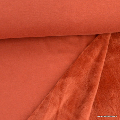 Tissu Sweat envers Minky Terracotta - OEKO TEX