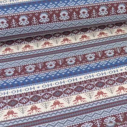 Maille jersey envers molleton motifs Père noël fond bleu et bordeaux - oeko tex