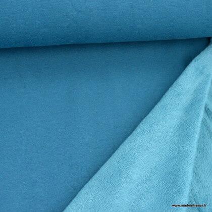 Tissu Sweat envers Minky Pétrole - OEKO TEX