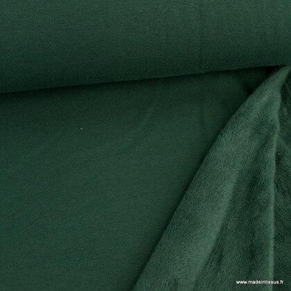 Tissu Sweat envers Minky vert Bouteille - OEKO TEX