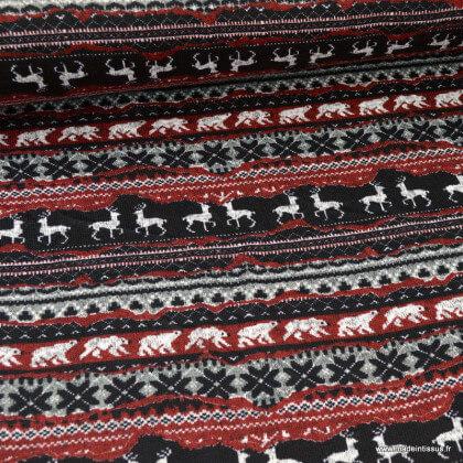 Maille envers molleton motifs cerfs et ours fond noir et rouge - oeko tex