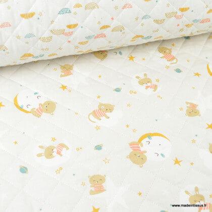 Tissu Matelassé coton double face thème Oluna & Okolo grège et blanc