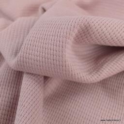 Tissu jersey nid d'abeille vieux rose - oeko tex