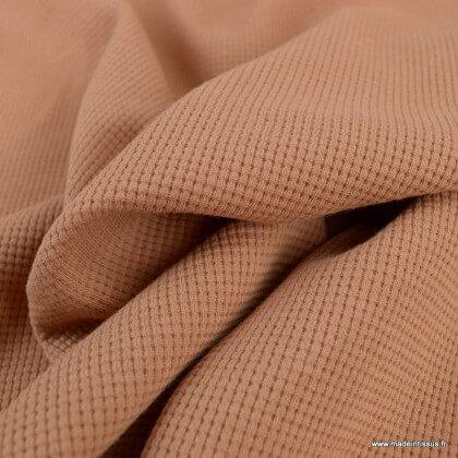Tissu jersey nid d'abeille Cassonade - oeko tex