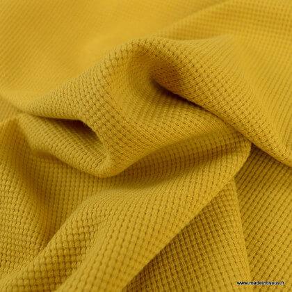 Tissu jersey nid d'abeille moutarde - oeko tex