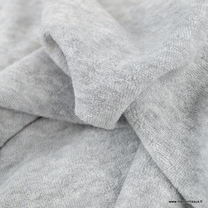 Tissu Eponge bouclette gris 100% coton