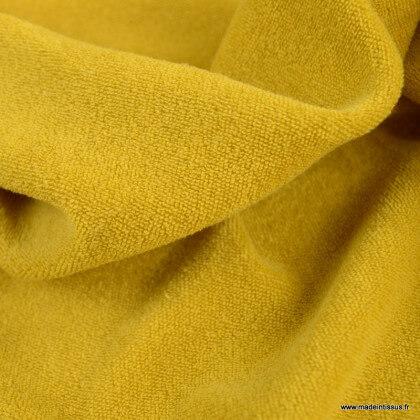 Tissu Eponge bouclette moutarde 100% coton