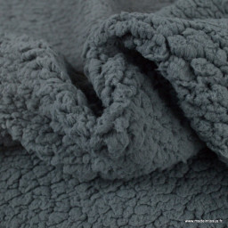Tissu Fausse Fourrure maille sherpa Anthracite