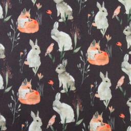 Tissu coton Lapereaux motifs lapins et renards fond ombre - Oeko tex