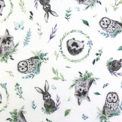 Tissu coton Forest motifs chouettes, lapins et renards fond blanc - Oeko tex