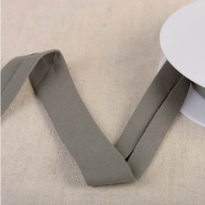 Biais Bio replié 20 mm coton uni vieux gris anthracite - Gots & oeko tex