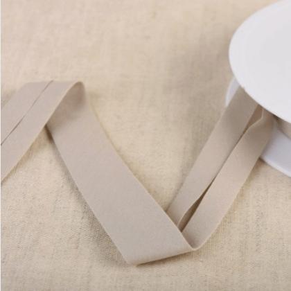 Biais Bio replié 20 mm coton uni vieux gris moyen - Gots & oeko tex