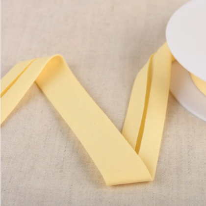 Biais Bio replié 20 mm coton uni jaune paille - Gots & oeko tex