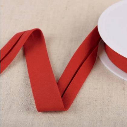 Biais Bio replié 20 mm coton uni Rouge Hermes - Gots & oeko tex