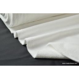 tissu éponge ultra douce 1 face grattée et une face velours coloris blanc et vendu au mètre