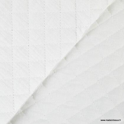Tissu Matelassé 1 face Double Gaze / 1 face popeline Blanc