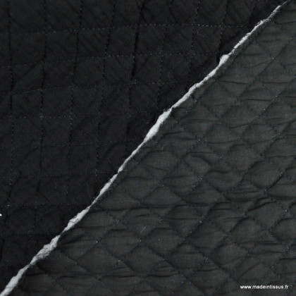 Tissu Matelassé 1 face Double Gaze / 1 face popeline Noir