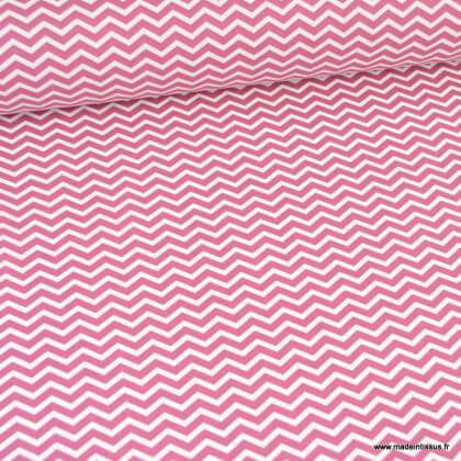 Tissu coton Tezy motif zigzag chevrons Framboise - Oeko tex
