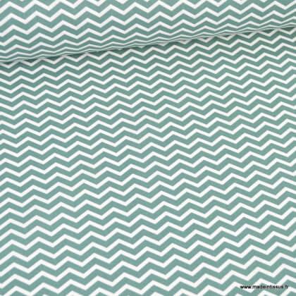 Tissu coton Tezy motif zigzag chevrons Thym - Oeko tex