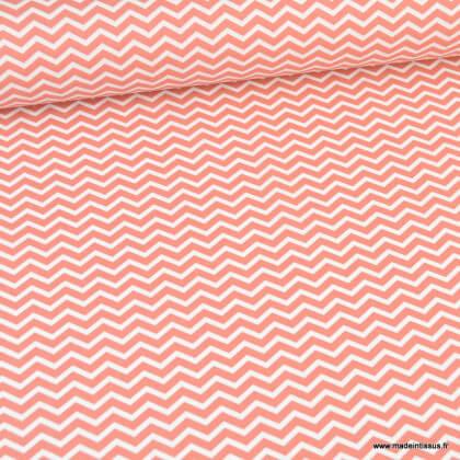 Tissu coton Tezy motif zigzag chevrons Chili - Oeko tex