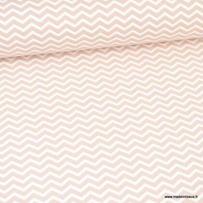 Tissu coton Tezy motif zigzag chevrons Nude - Oeko tex