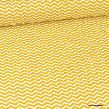 Tissu coton Tezy motif zigzag chevrons Moutarde - Oeko tex