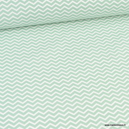 Tissu coton Tezy motif zigzag chevrons Aventurine - Oeko tex
