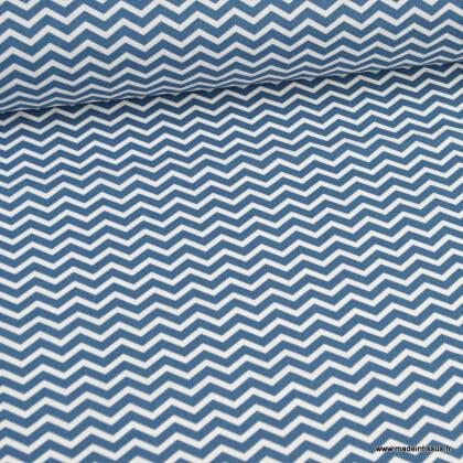 Tissu coton Tezy motif zigzag chevrons Indigo - Oeko tex