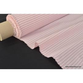 VICHY 50% polyester 50% coton coloris ROSE ECRU 150cm 110gr/m²